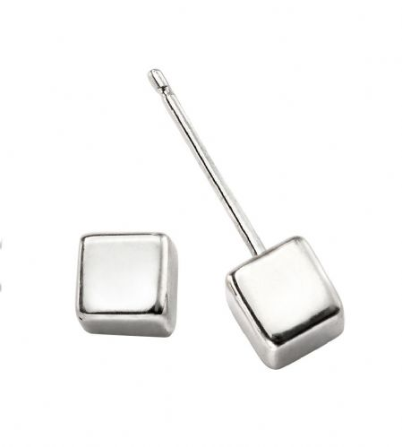 Cube Stud Silver Earrings